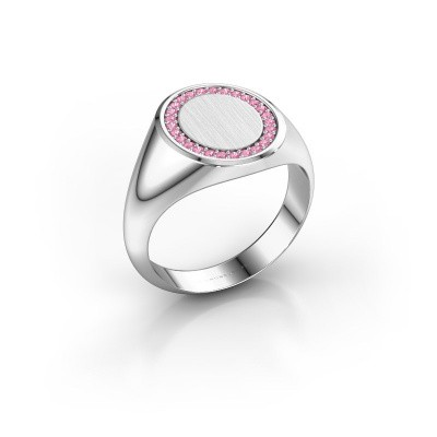 Men's ring Floris Oval 3 375 white gold pink sapphire 1.2 mm