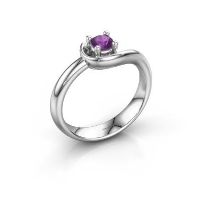 Ring Lot 585 witgoud amethist 4 mm