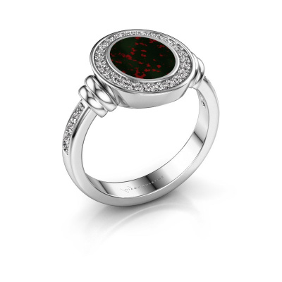 Signet ring Bailey 950 platinum bloodstone 10x8 mm