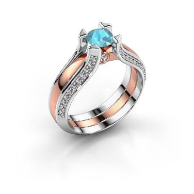 Engagement ring Nadine 585 rose gold blue topaz 5 mm