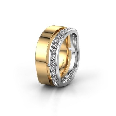 Weddings ring WH6008L18BP 585 gold zirconia ±10x2 mm