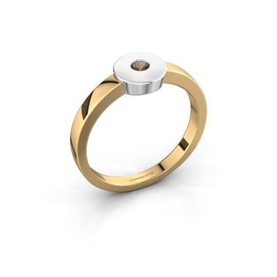 Foto van Ring Elisa 585 goud rookkwarts 3 mm
