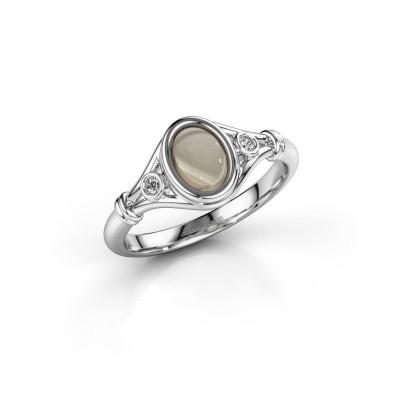 Ring Scarlett 925 zilver rookkwarts 7x5 mm