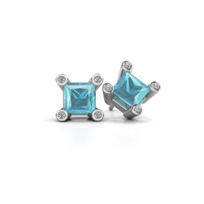 Picture of Stud earrings Cornelia Square 585 white gold blue topaz 6 mm