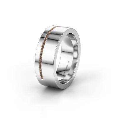 Trouwring WH0143L17BP 375 witgoud bruine diamant ±7x2 mm