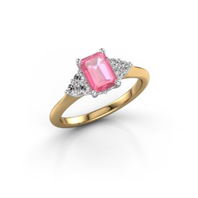 Foto van Verlovingsring Felipa EME 585 goud roze saffier 7x5 mm
