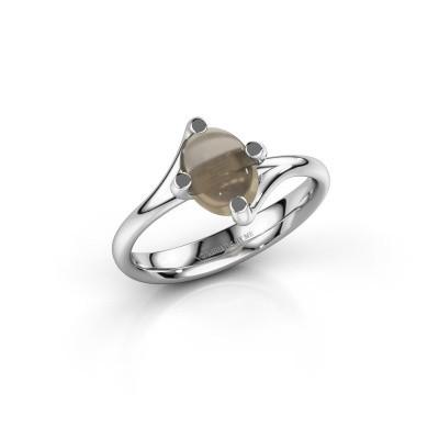 Ring Nora 950 platina rookkwarts 8x6 mm