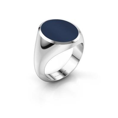 Foto van Zegelring Herman 6 925 zilver donker blauw lagensteen 16x13 mm