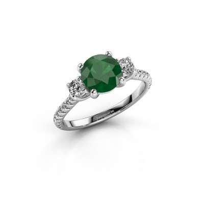 Verlovingsring Jesica 585 witgoud smaragd 7 mm