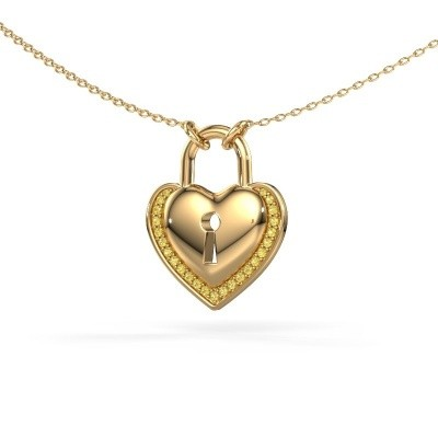 Halsketting Heartlock 585 goud gele saffier 1 mm