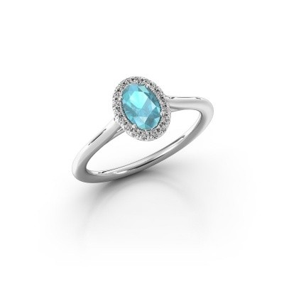 Engagement ring Seline 1 925 silver blue topaz 6x4 mm