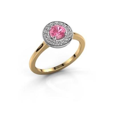Ring Agaat 1 585 goud roze saffier 5 mm