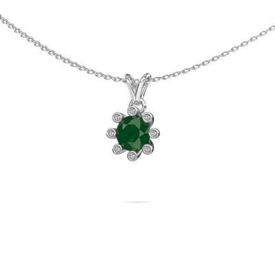Foto van Hanger Carola 3 375 witgoud smaragd 6 mm