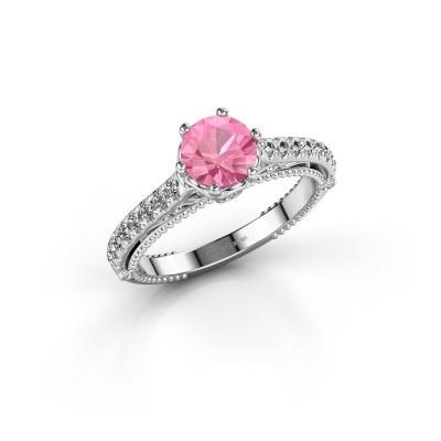 Engagement ring Venita 585 white gold pink sapphire 6.5 mm