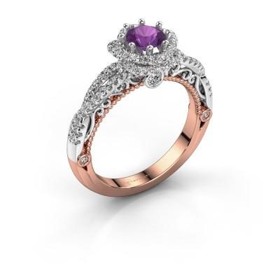 Engagement ring Lysanne 585 rose gold amethyst 5 mm