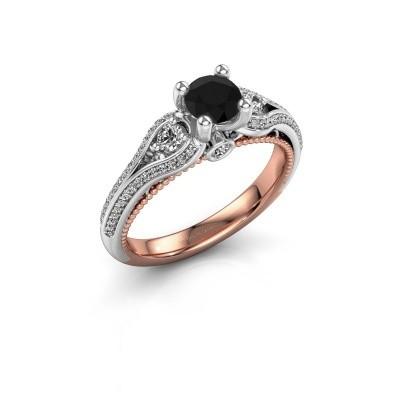 Foto van Verlovingsring Nikita 585 rosé goud zwarte diamant 0.920 crt
