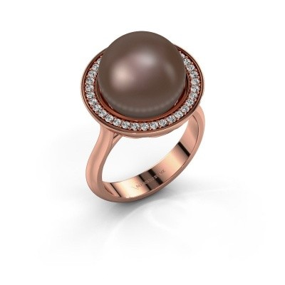 Ring Grisel 375 rosé goud bruine parel 12 mm