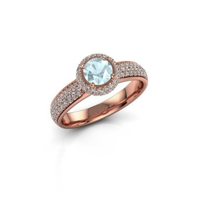 Engagement ring Mildred 375 rose gold aquamarine 5 mm