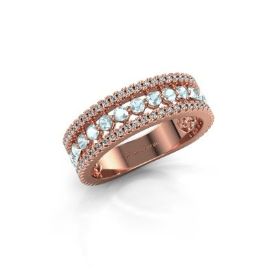 Verlovingsring Elizbeth 1 375 rosé goud aquamarijn 2 mm