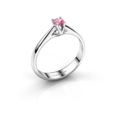 Engagement ring Janna 1 925 silver pink sapphire 3.4 mm
