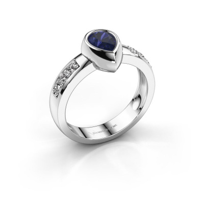 Ring Charlotte Pear 925 silver sapphire 8x5 mm