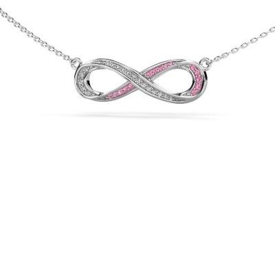 Halskette Infinity 2 585 Weißgold Pink Saphir 0.8 mm
