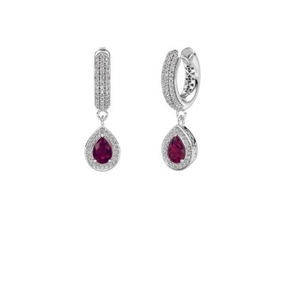 Drop earrings Barbar 2 375 white gold rhodolite 6x4 mm