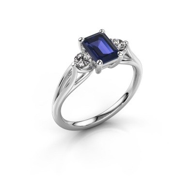 Picture of Engagement ring Amie EME 585 white gold sapphire 7x5 mm