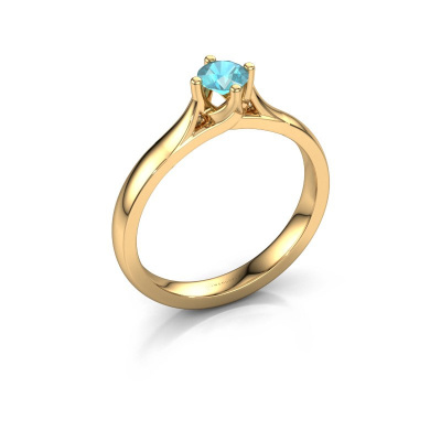 Verlovingsring Eva 585 goud blauw topaas 4.2 mm