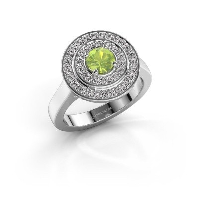 Ring Alecia 1 585 witgoud peridoot 5 mm