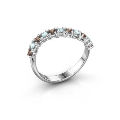 Ring Eliza 950 platina rookkwarts 2 mm