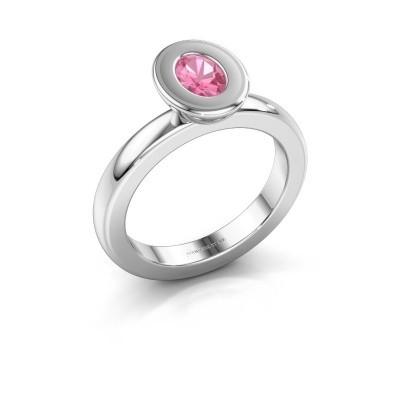Stapelring Eloise Oval 925 zilver roze saffier 6x4 mm