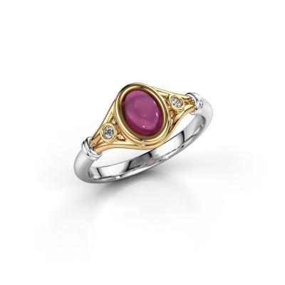 Ring Scarlett 585 goud rhodoliet 7x5 mm