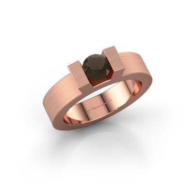 Foto van Ring Leena 1 375 rosé goud rookkwarts 5 mm
