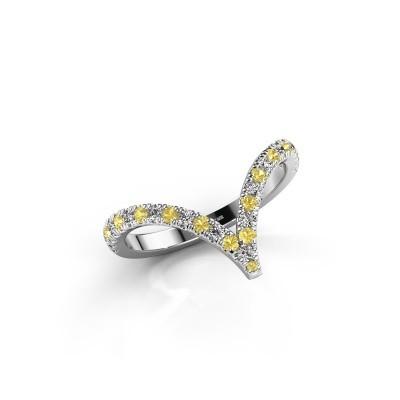 Ring Mirtha 925 zilver gele saffier 1.5 mm