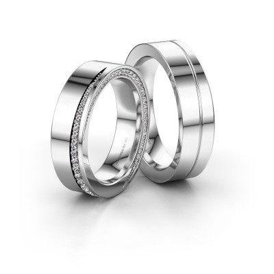 Foto van Huwelijksringen set WH1002LM15DP ±5x2.3 mm 14 karaat witgoud diamant 0.003 crt