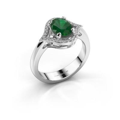Ring Mendy 925 zilver smaragd 8x6 mm