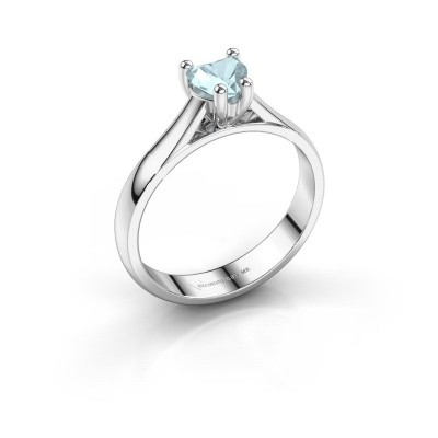 Verlobungsring Sam Heart 925 Silber Aquamarin 5 mm