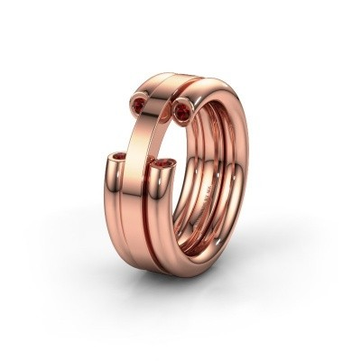 Wedding ring WH6018L 585 rose gold garnet ±8x3 mm