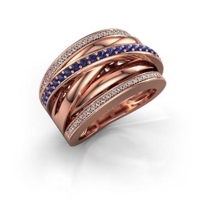 Foto van Ring Clair 2 585 rosé goud saffier 1.5 mm