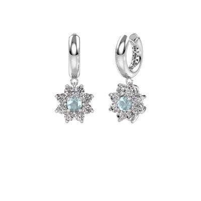 Drop earrings Geneva 1 585 white gold aquamarine 4.5 mm