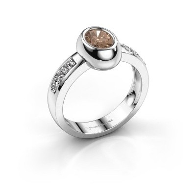 Ring Charlotte Oval 925 silver brown diamond 0.98 crt