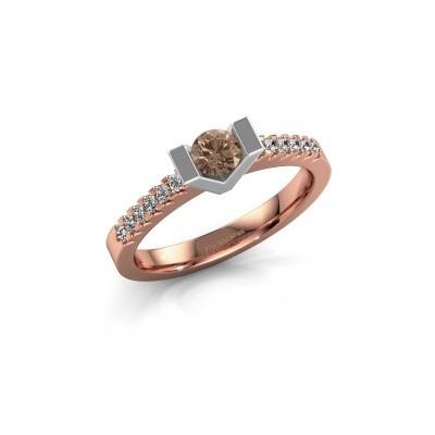 Verlovingsring Sherley 2 585 rosé goud bruine diamant 0.43 crt