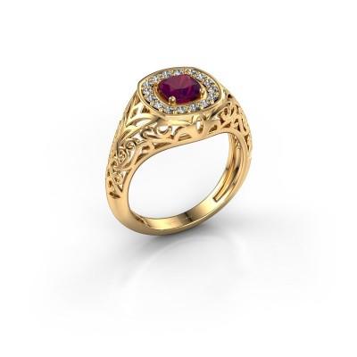 Foto van Heren ring Quinten 585 goud rhodoliet 5 mm