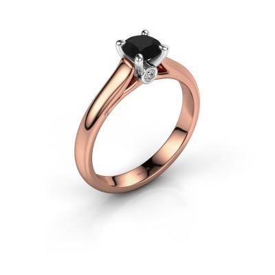 Foto van Verlovingsring Valorie 1 585 rosé goud zwarte diamant 0.60 crt