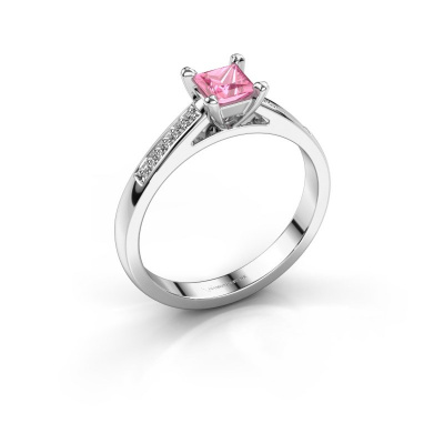 Engagement ring Nynke SQR 585 white gold pink sapphire 4 mm