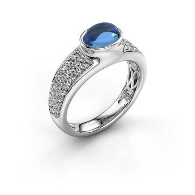 Ring Tatyana 375 white gold blue topaz 7x5 mm