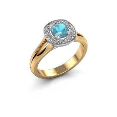Foto van Ring Carolina 1 585 goud blauw topaas 5 mm