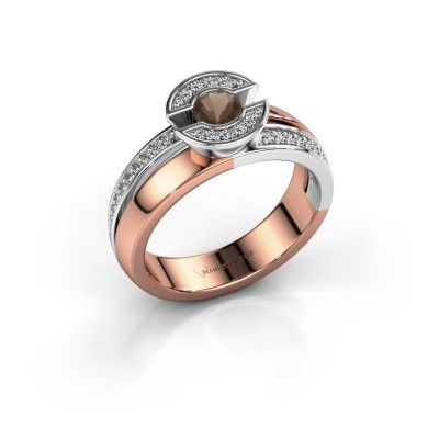 Ring Jeanet 2 585 rosé goud rookkwarts 4 mm