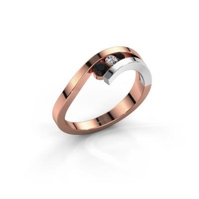 Ring Evalyn 2 585 rosé goud zwarte diamant 0.182 crt
